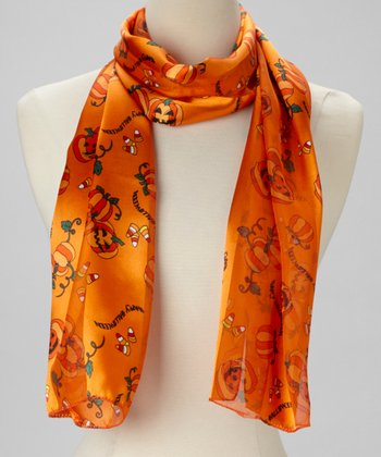 Orange 'Happy Halloween' Pumpkin Scarf