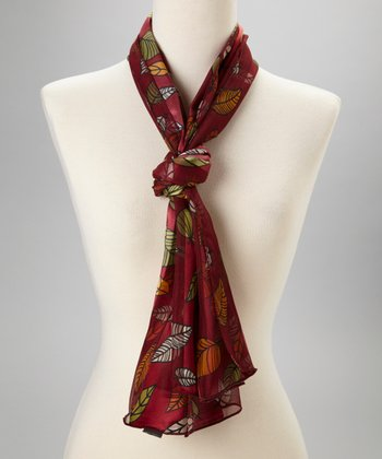 Maroon Falling Leaves Scarf