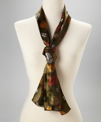 Olive Falling Leaves Scarf