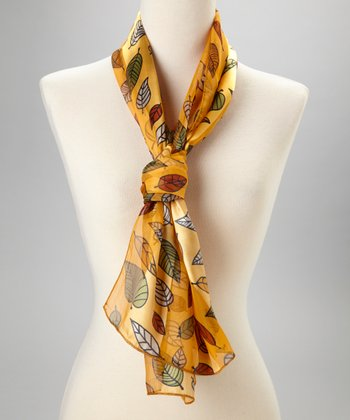 Gold Falling Leaves Scarf