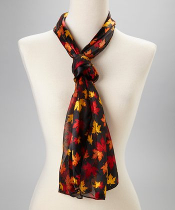Black Maple Leaf Scarf
