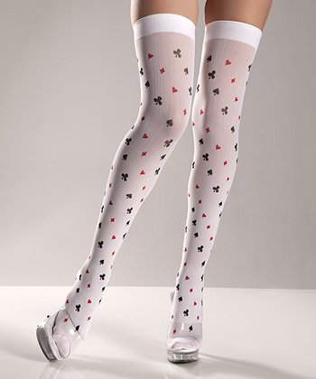 White Deck of Cards Thigh-High Stockings