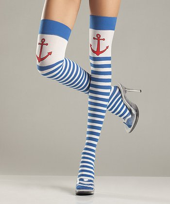 Blue & White Sailor Thigh-High Stockings