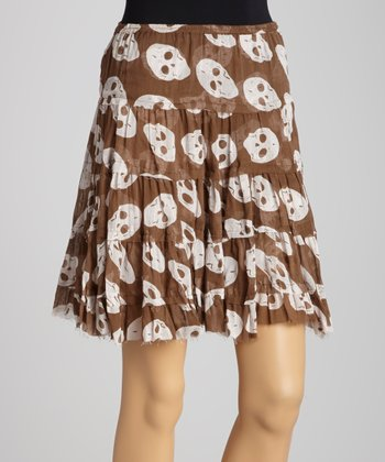 Brown Skull A-Line Skirt