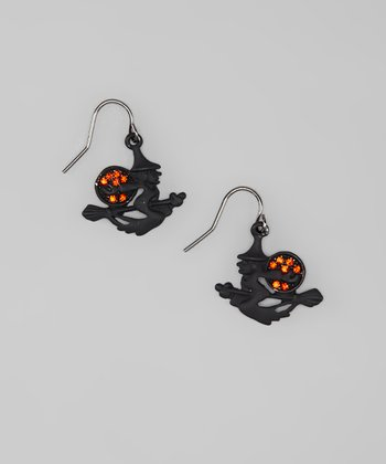 Black & Orange Witch Drop Earrings