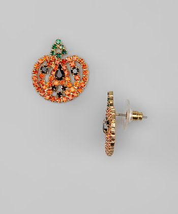 Orange Pumpkin Rhinestone Stud Earrings