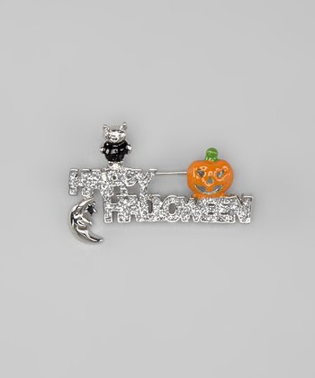 Silver & Orange 'Happy Halloween' Pin