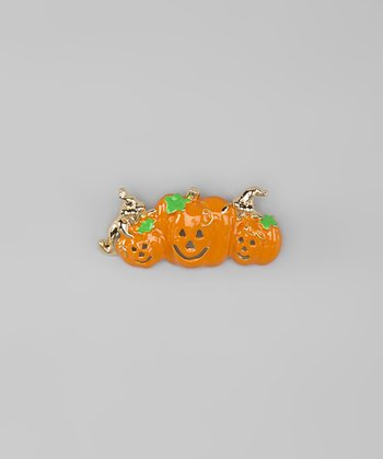 Gold & Orange Pumpkin Trio Pin