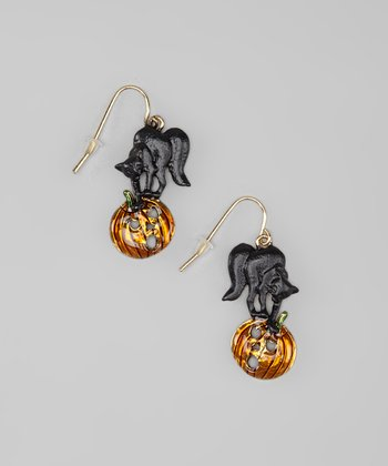 Gold & Orange Black Cat & Pumpkin Earrings
