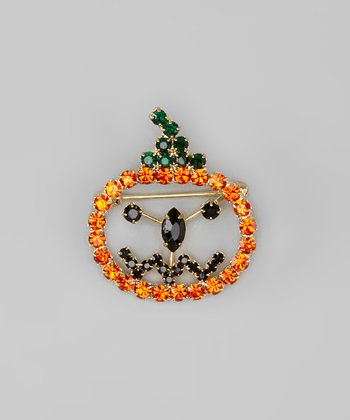 Gold Orange & Black Rhinestone Pumpkin Pin