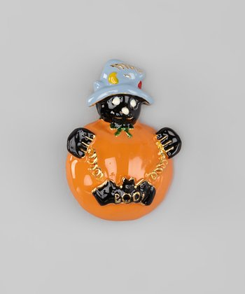 Orange & Black Bat Pumpkin Pin