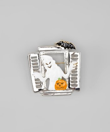 Silver & White Spooky Window Pin