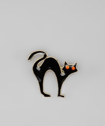 Gold & Black Halloween Cat Pin