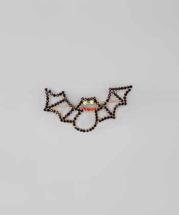 Black Rhinestone Bat Pin