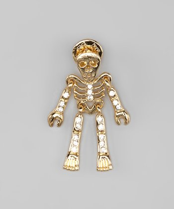 Gold Rhinestone Skeleton Pin