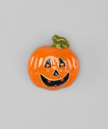 Orange Rhinestone Jack-'-Lantern Pin