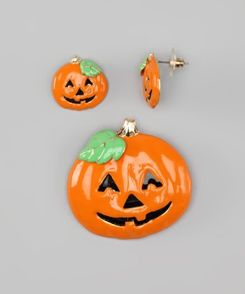 Orange Pumpkin Pin & Earring Set