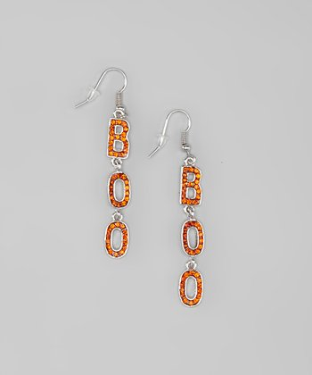 "Silver & Orange Rhinestone ""Boo"" Drop Earrings"