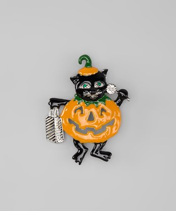 Black & Orange Trick-or-Treat Pin