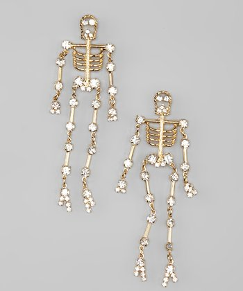 Gold Rhinestone Skeleton Dangle Earrings