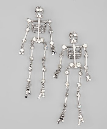 Silver Rhinestone Skeleton Dangle Earrings