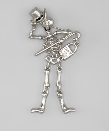 Silver Skeleton Trick-or-Treat Pin