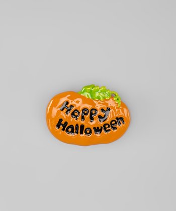 Orange 'Happy Halloween' Pumpkin Pin