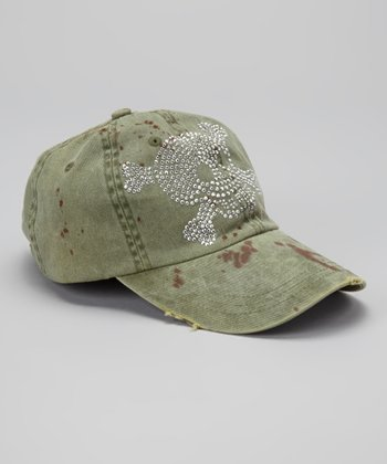 Green Skull Distressed Baseball Cap