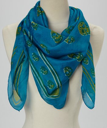 Teal & Green Skull Silk Scarf