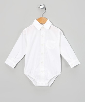White Long-Sleeve Button-Up Bodysuit - Infant