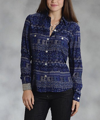 Blue Embroidered Button-Up - Women & Plus