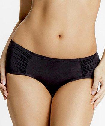 Parisa Black Body Veil Shirred Bikini Briefs - Women & Plus