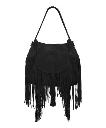 Black Faux Suede Fringe Cullen Shoulder Bag