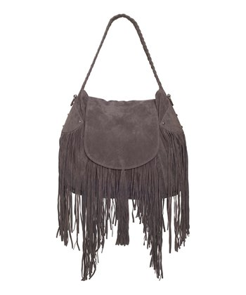 Gray Faux Suede Fringe Cullen Shoulder Bag