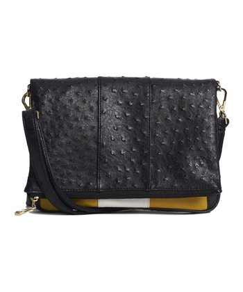 Black Ostrich-Embossed Bex Fold-Over Clutch
