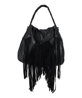 Black Faux Leather Fringe Cullen Shoulder Bag