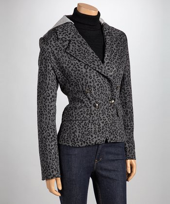 Charcoal Leopard Hooded Blazer