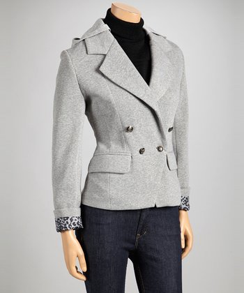 Gray Hooded Blazer