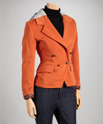 Orange Hooded Blazer