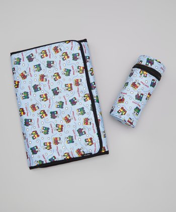 Blue 'Choo! Choo!' Travel Changing Pad & Bottle Cover