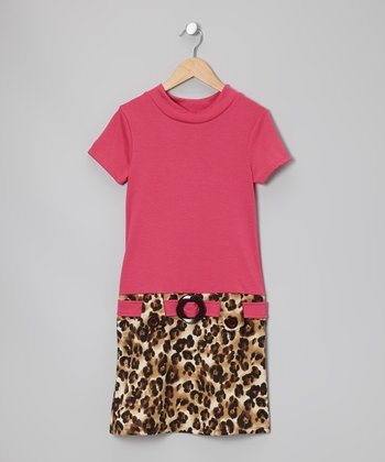Fuchsia Cheetah Dress - Girls