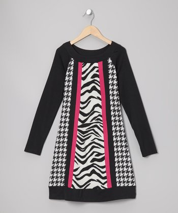 Black & White Houndstooth Dress - Girls