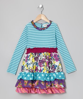 Turquoise & Fuchsia Floral Tiered Dress - Girls