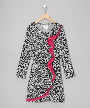 Gray & Black Leopard Dress - Girls