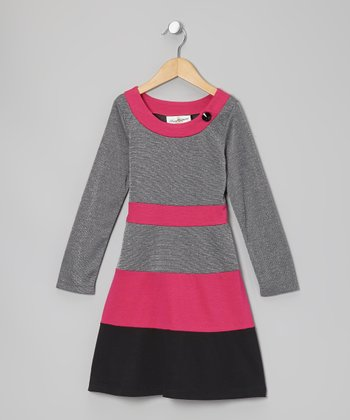 Fuchsia & Gray Stripe Dress - Girls