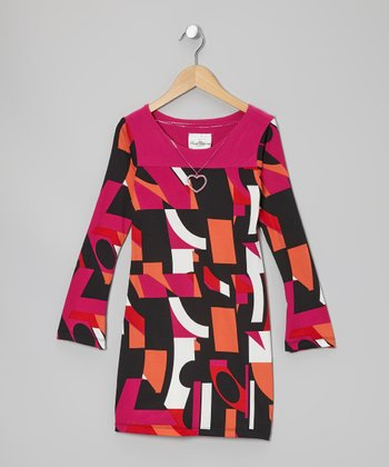 Fuchsia & Orange Geometric Dress - Girls