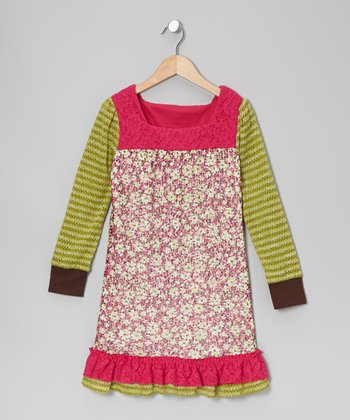 Fuchsia & Lime Floral Dress - Girls