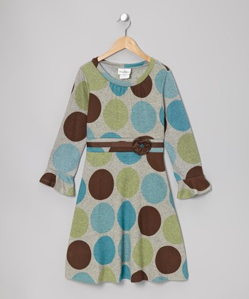 Turquoise & Brown Polka Dot Dress - Toddler & Girls