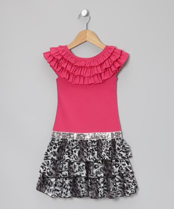 Fuchsia Leopard Drop-Waist Dress - Girls