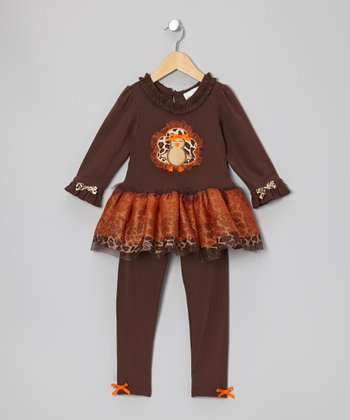 Brown & Orange Turkey Tunic & Leggings - Infant, Toddler & Girls